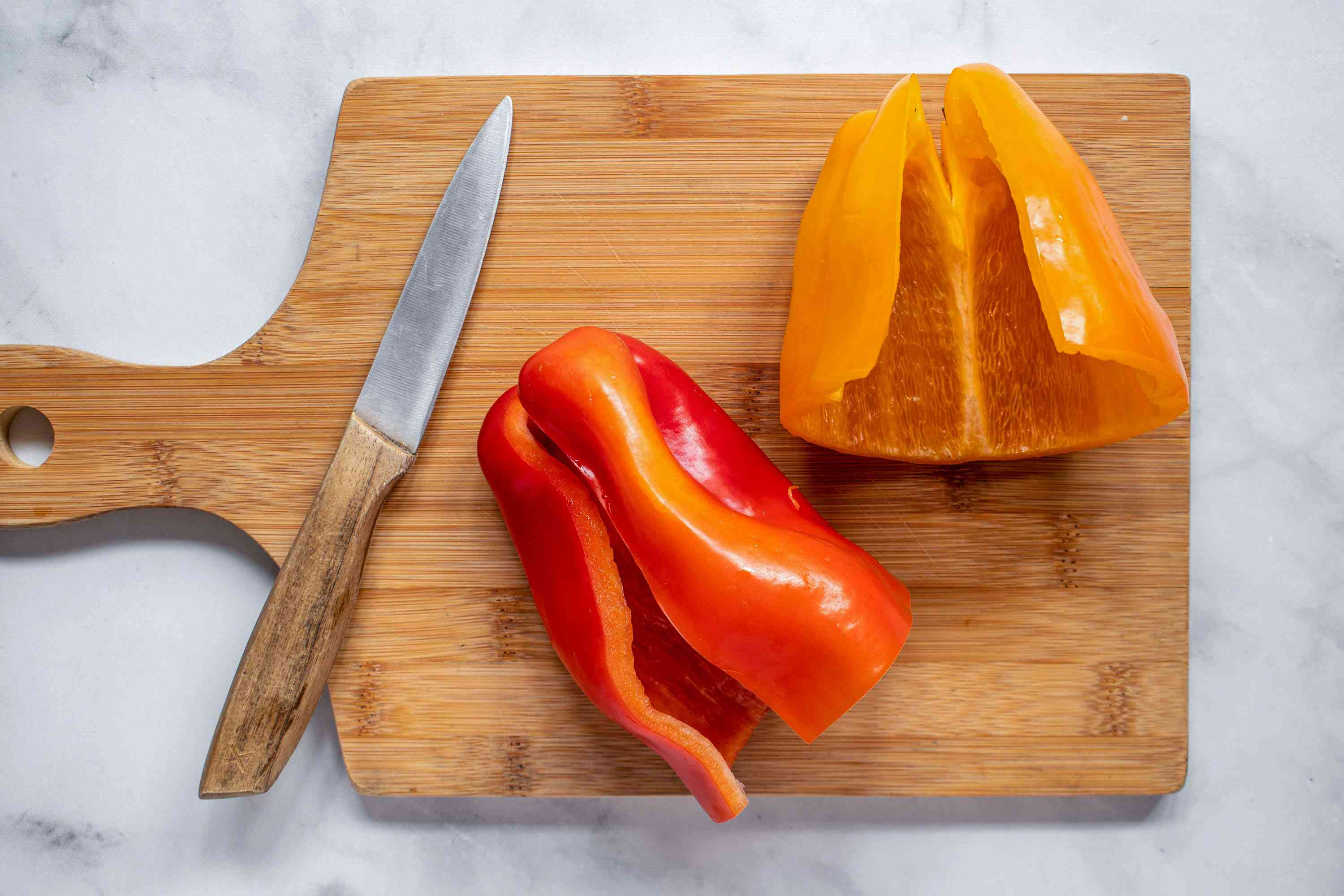 Core and seed the bell peppers