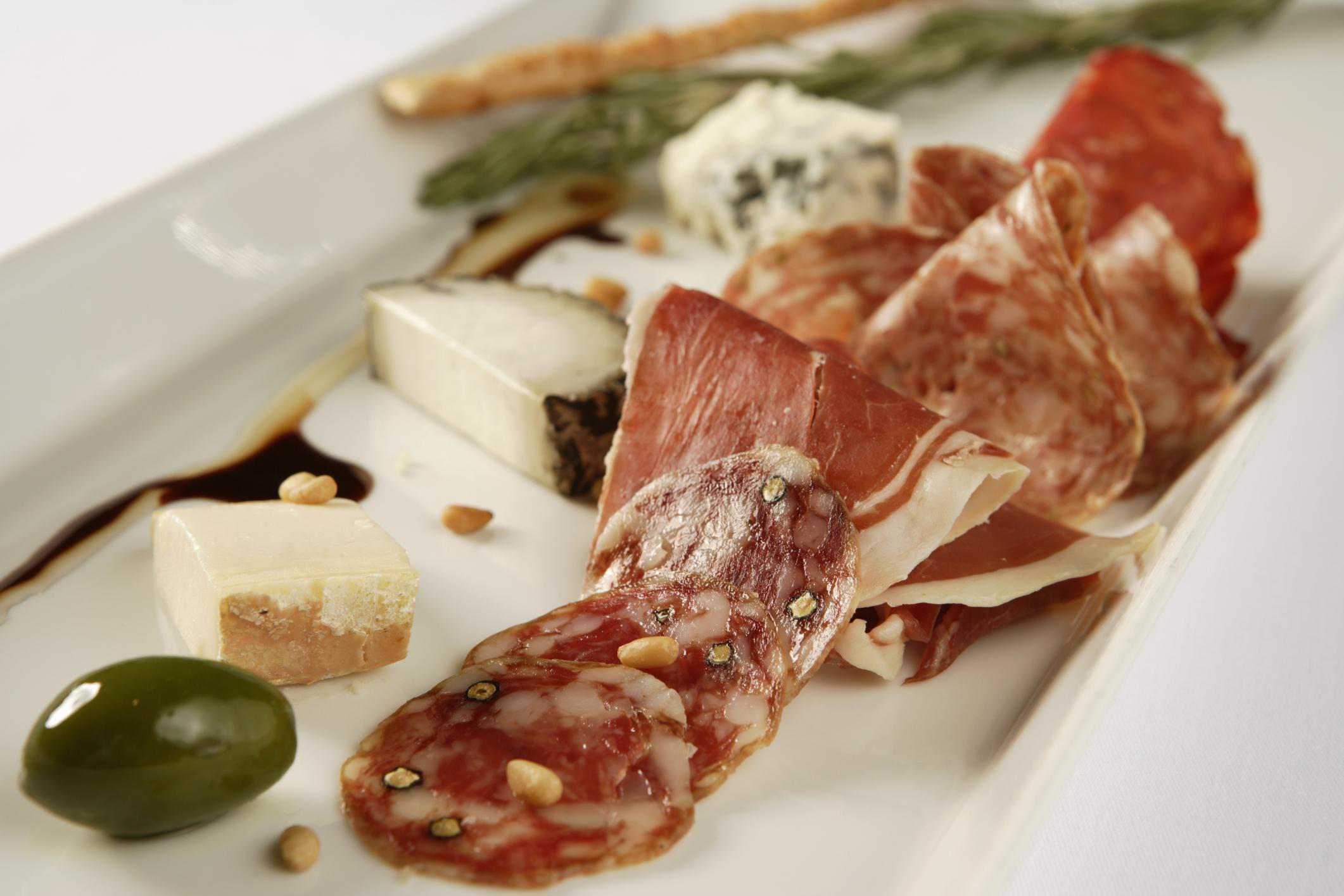 Cold cuts with cheese and olives