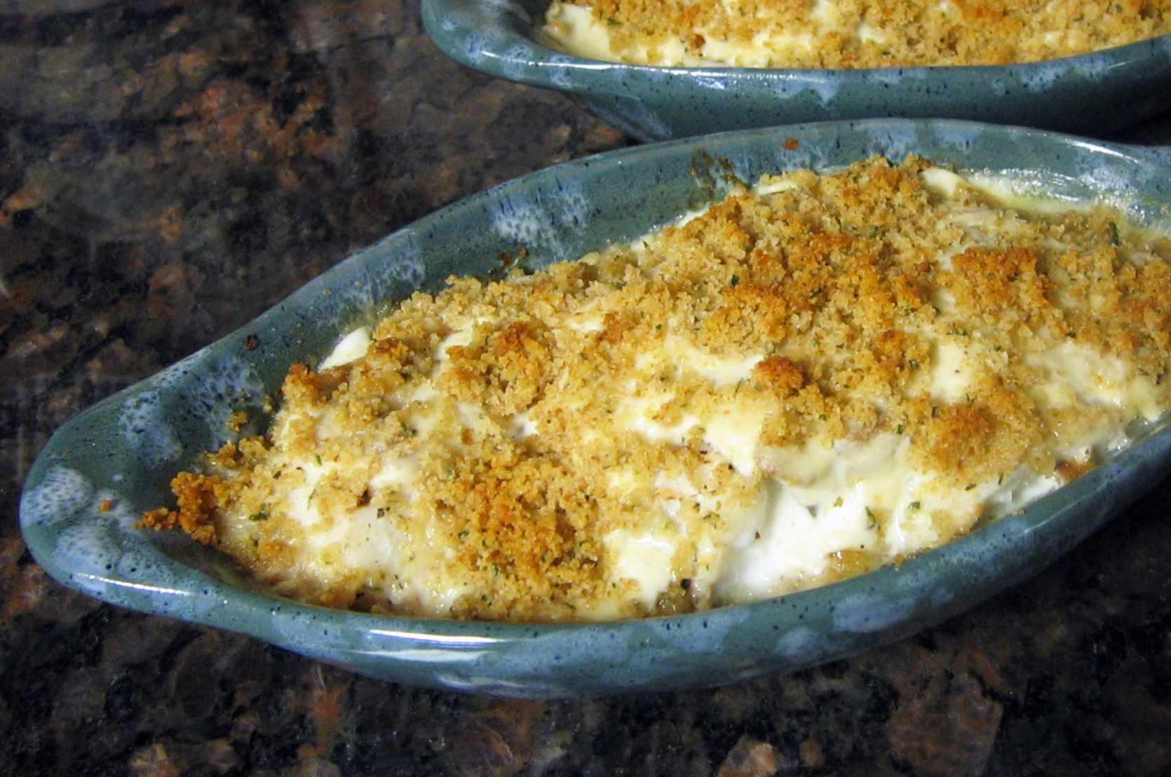 Baked haddock with mushroom cream sauce