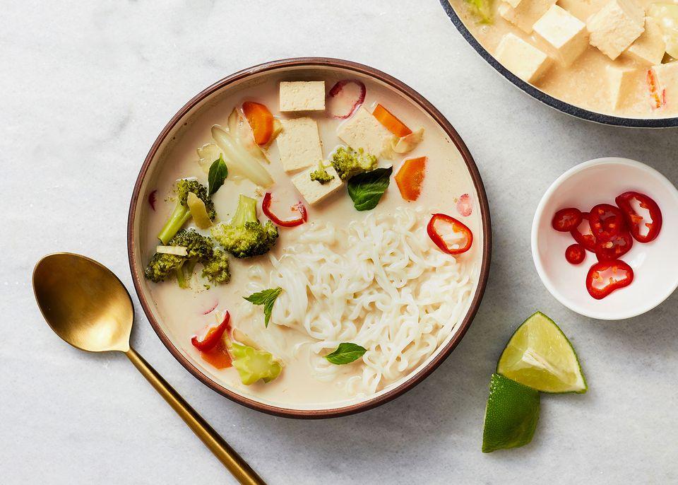 Thai Vegetable Coconut Soup With Noodles