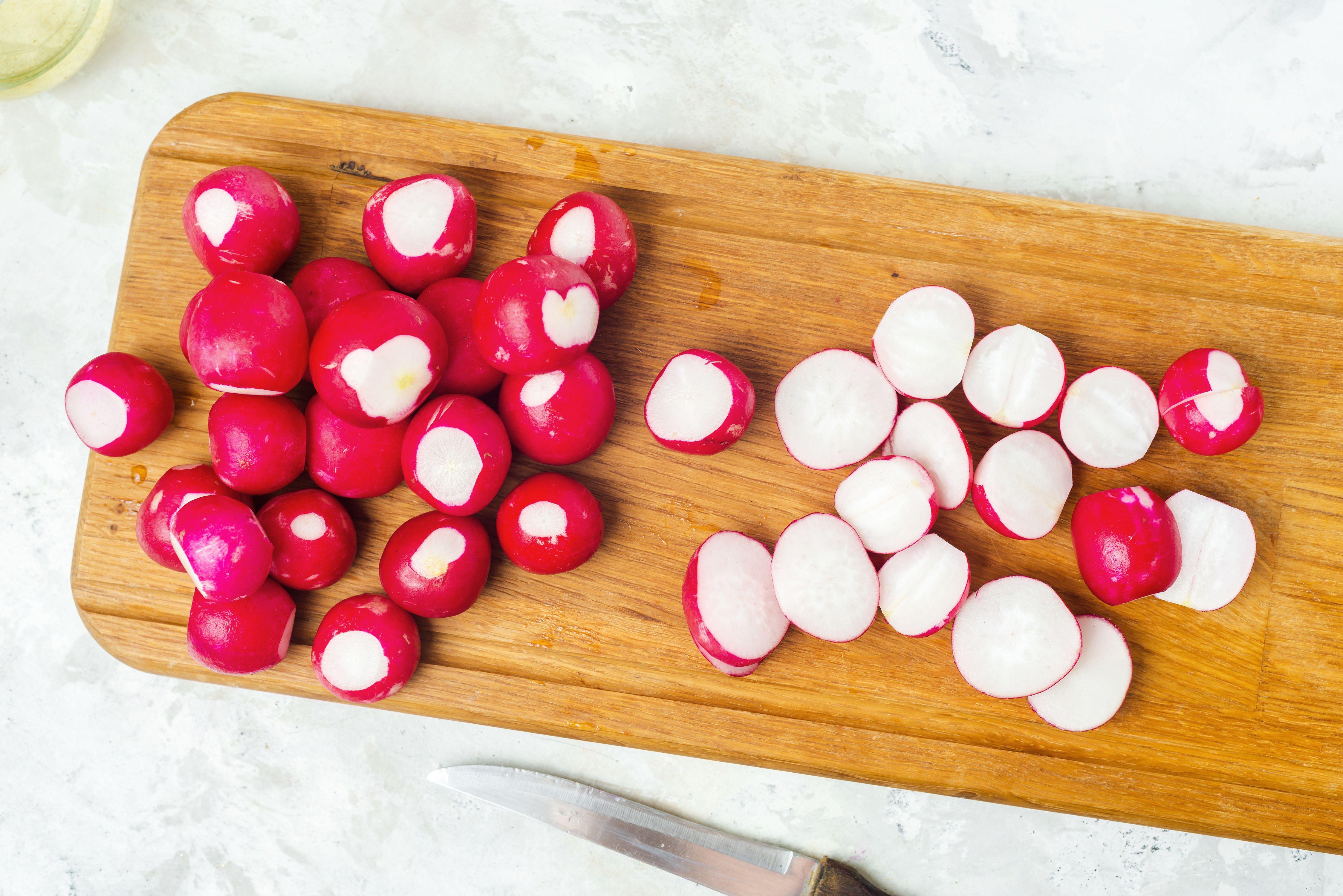 Cut radishes