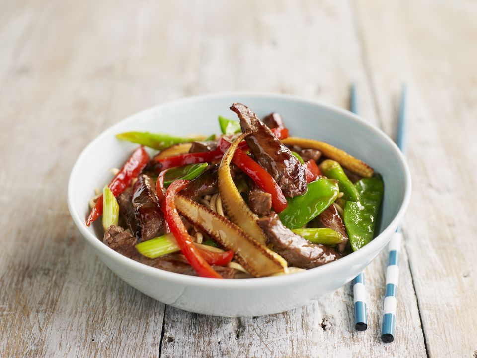 Beef and vegetable stir-fry containing sweetcorn, peppers, and mangetouts