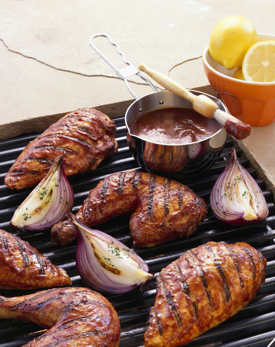 BBQ Chicken and Onions on Grill