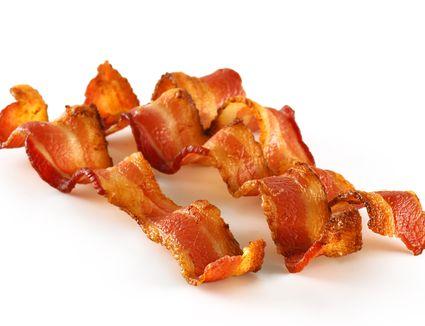 Three Bacon Slices on White