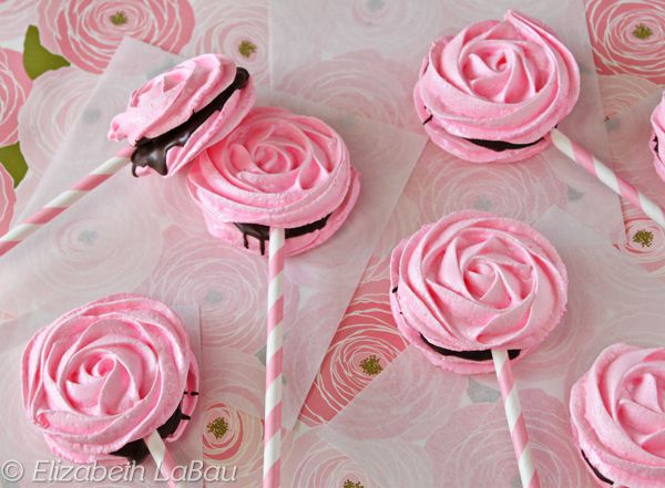 Meringue Rose Pops