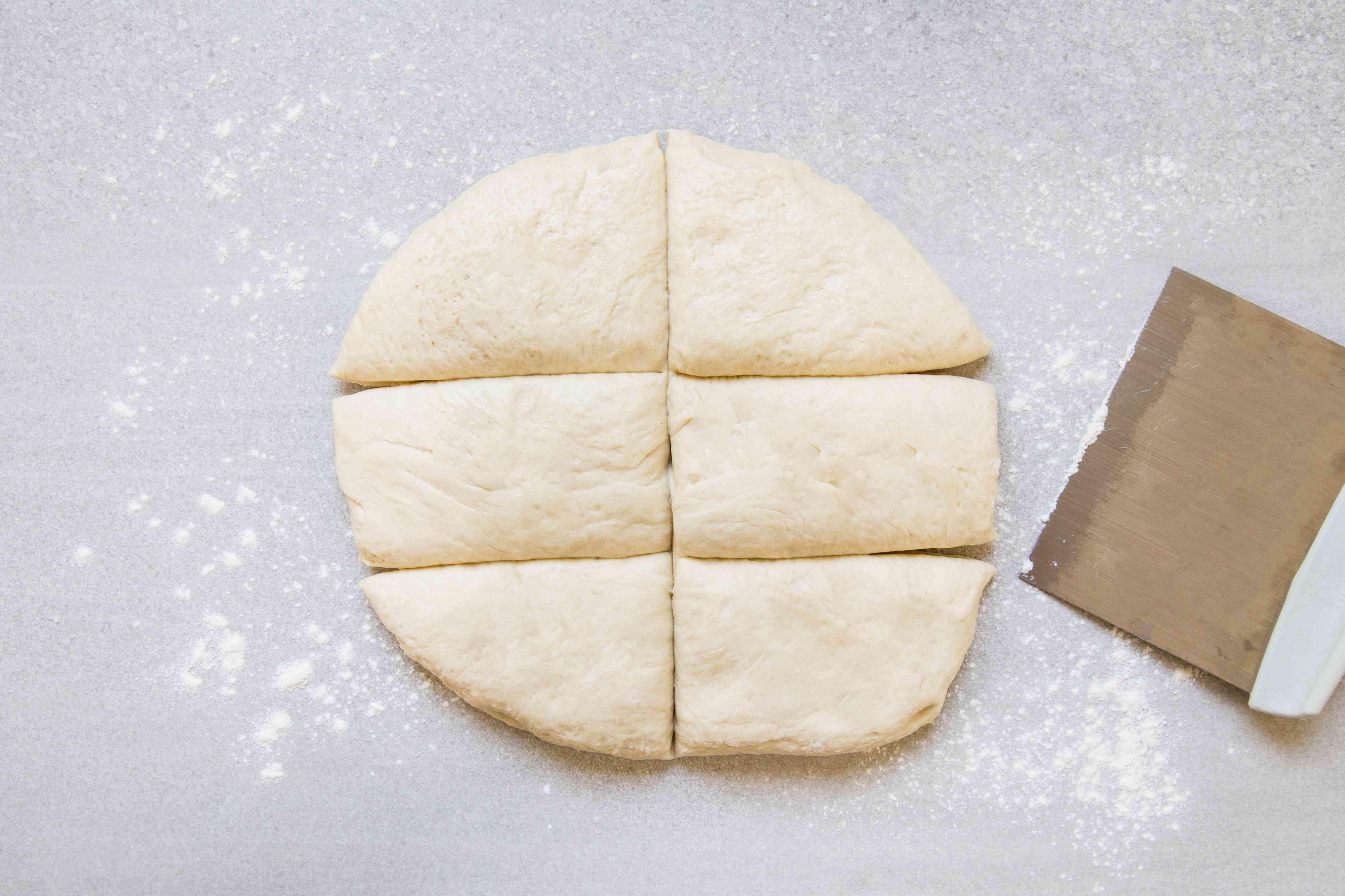 dough divided into pieces