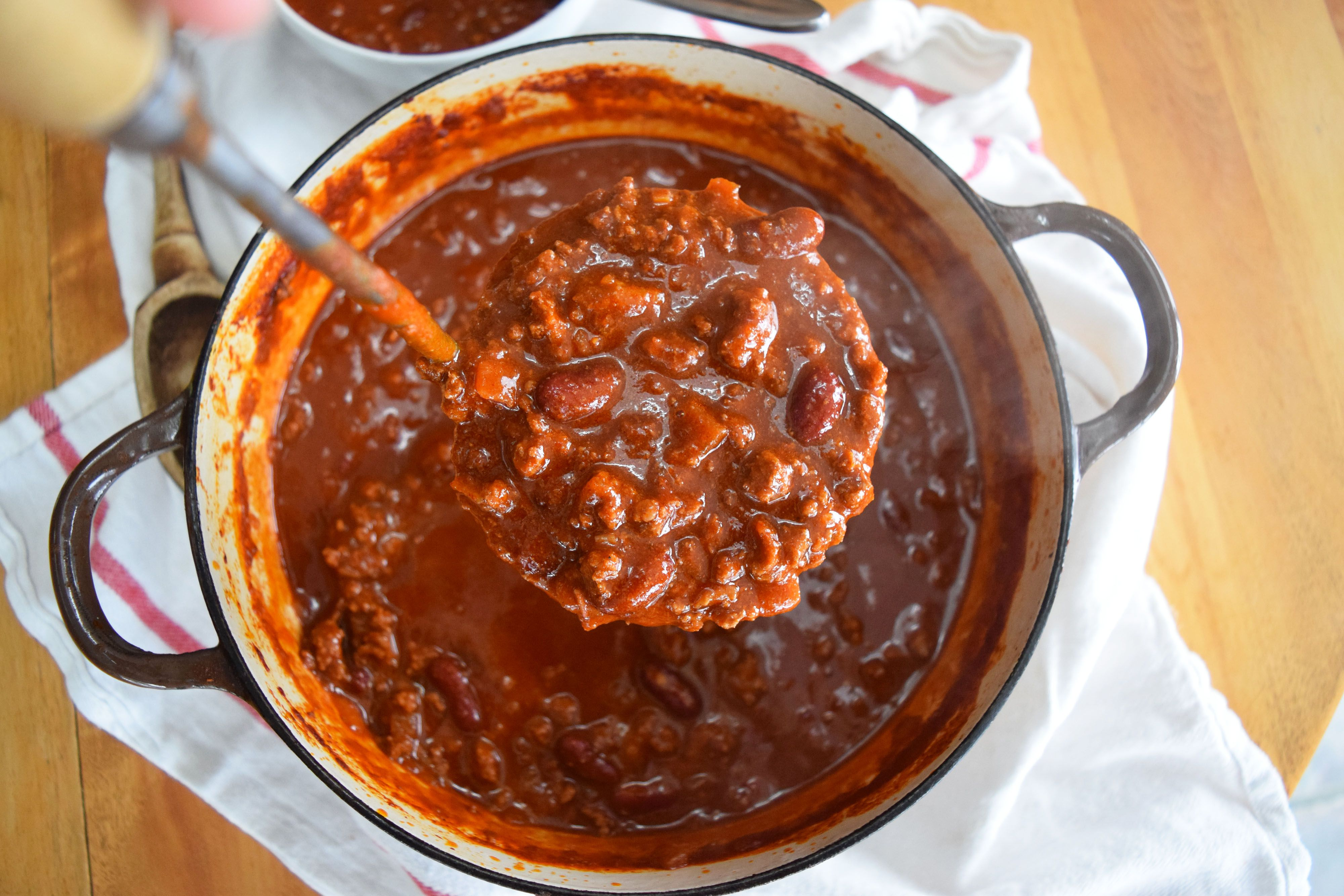 A pot of classic all-beef chili