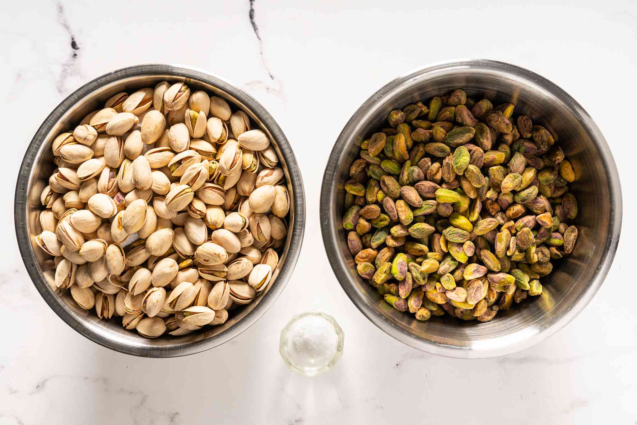 Pistachio butter ingredients, showing shelled and unshelled nuts