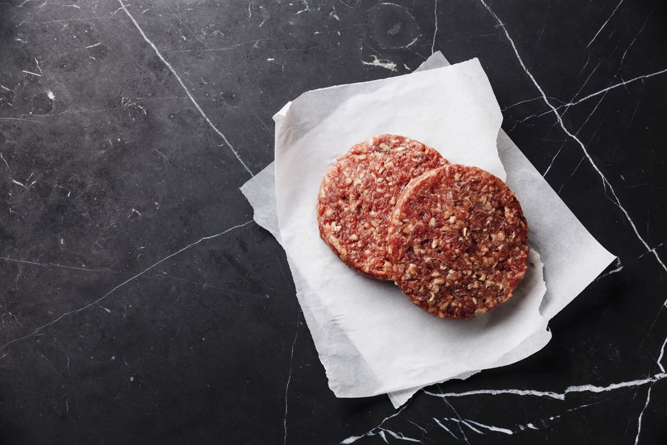 Raw ground beef patties