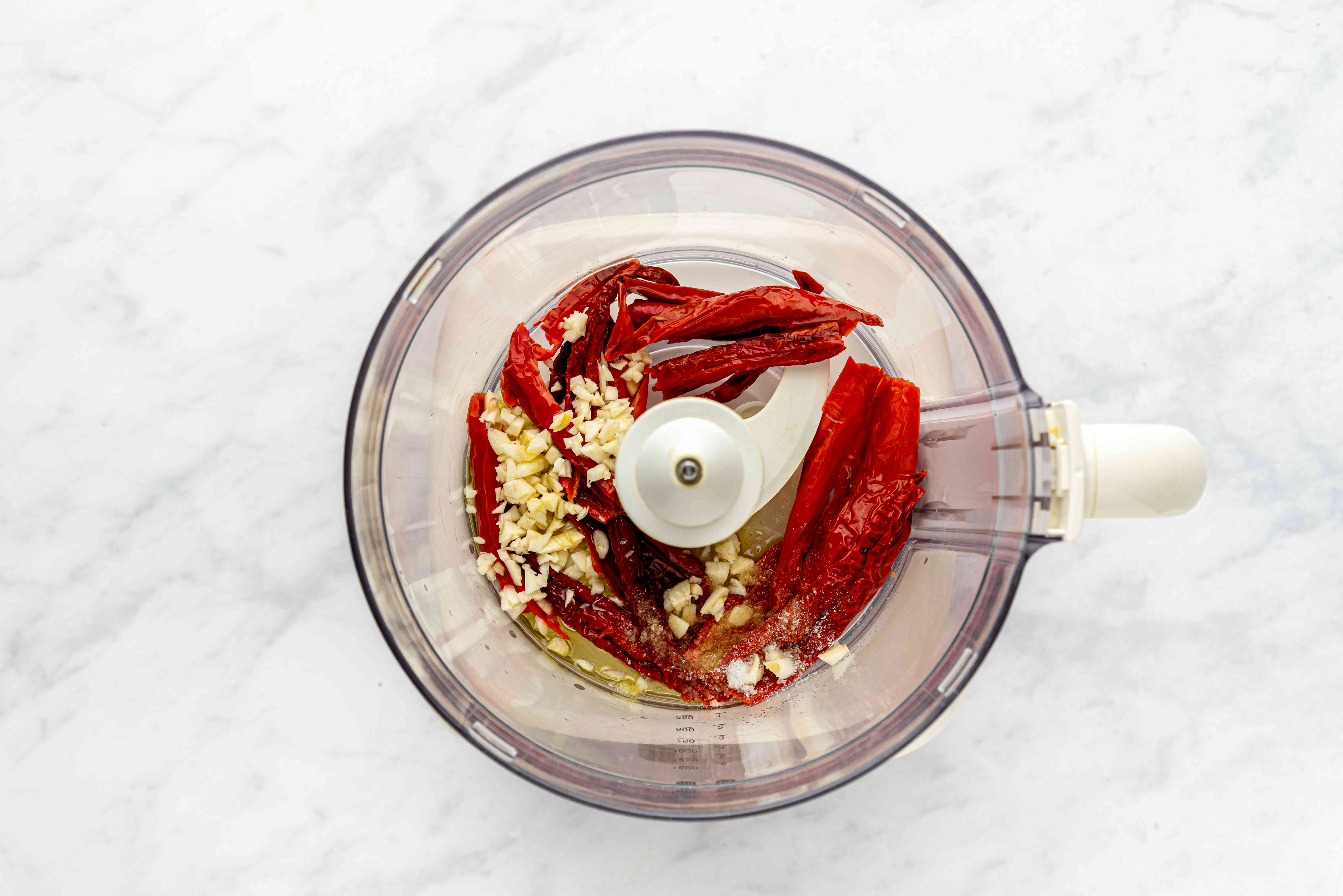 Blending chilies in food processor