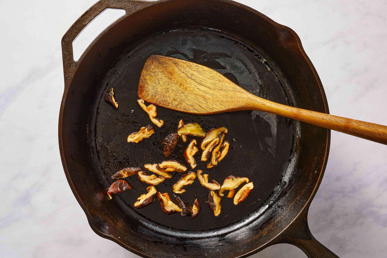 Saute mushrooms with salt