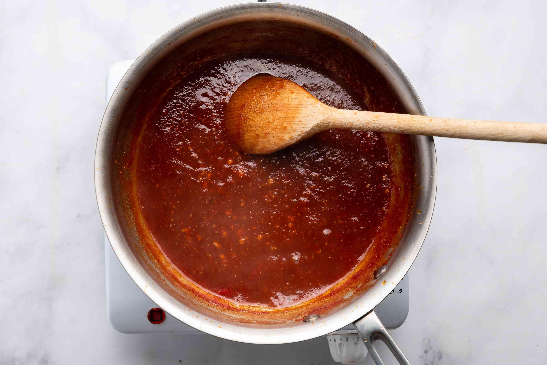 glaze cooking in a saucepan