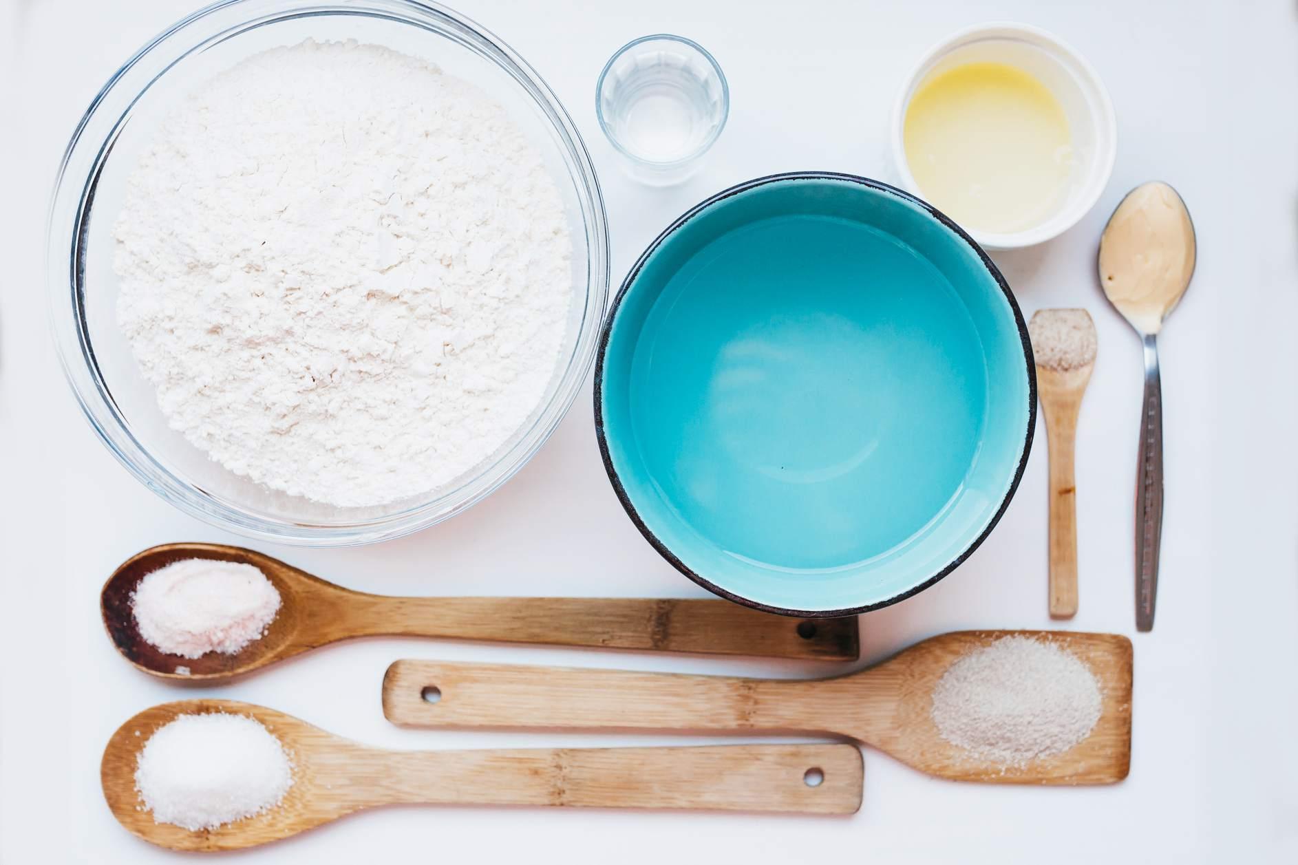 Ingredients for Italian bread dough