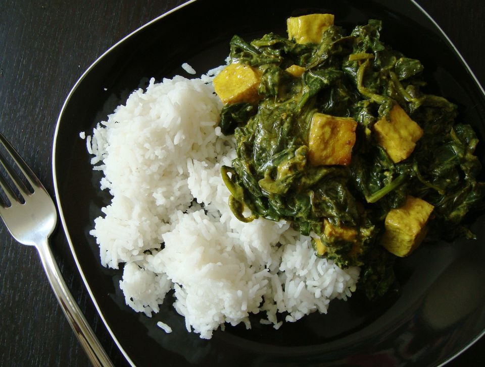 "We used our paneer to make vegan Indian palak ""paneer"""