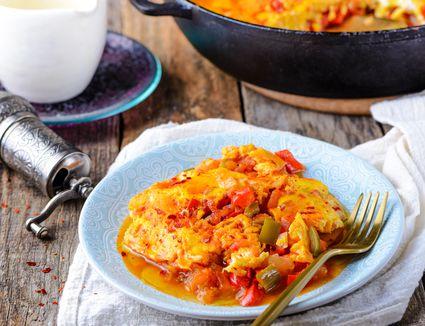 Turkish Menemen Vegetable and Egg Scramble Recipe