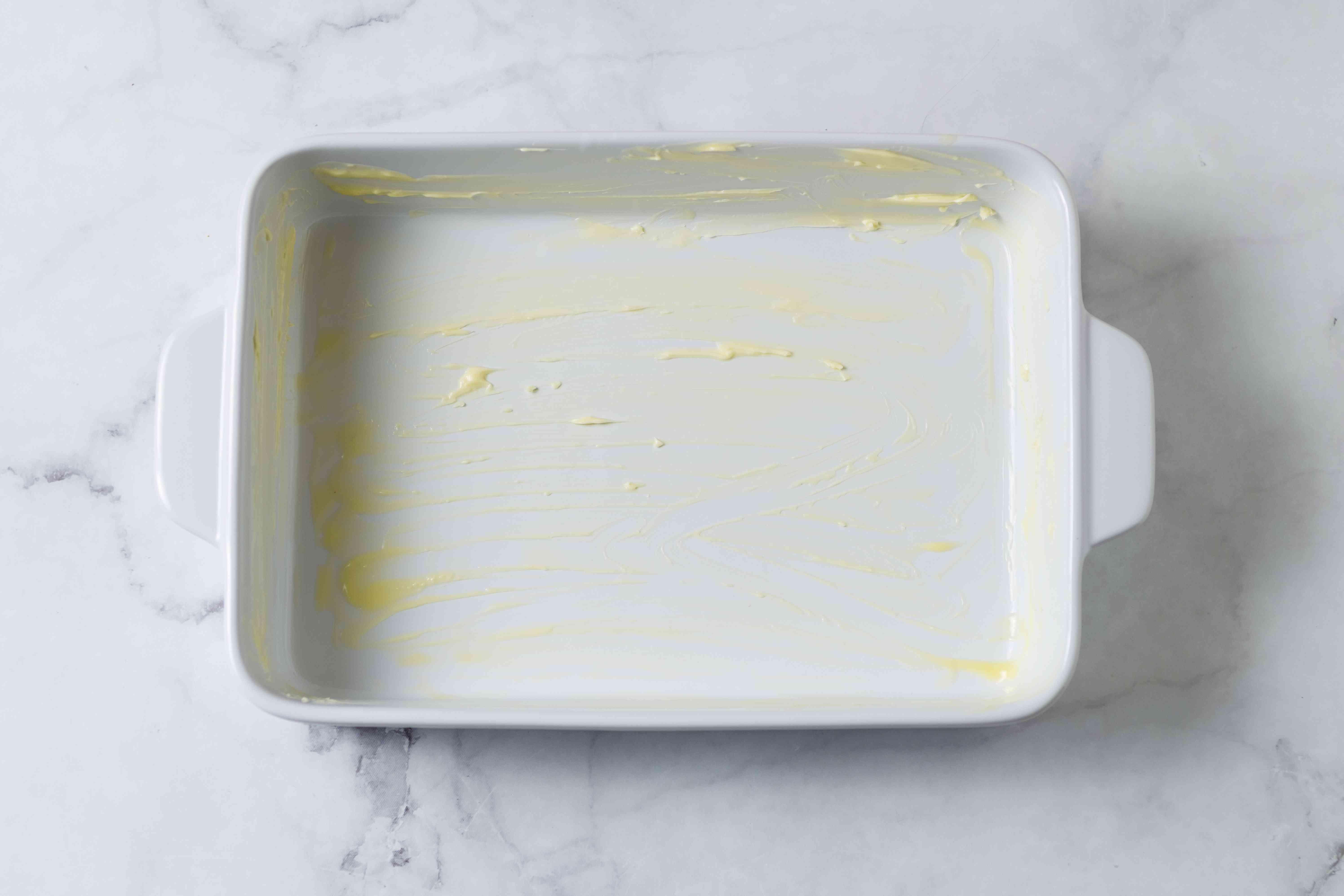 buttered casserole dish