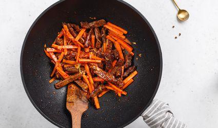 Stir-fry in a wok