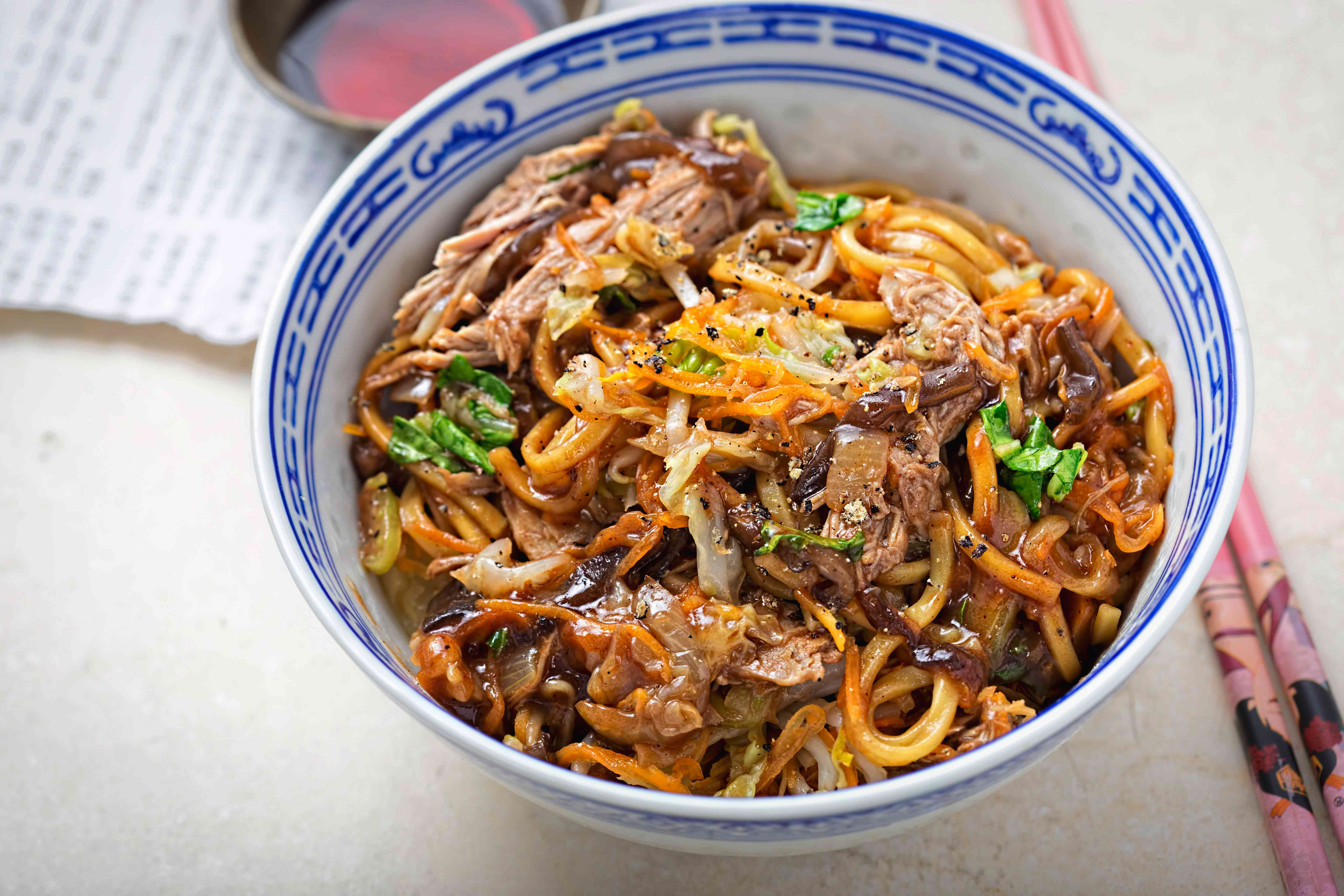 Hoisin duck noodles. Egg noodles with strips slow roasted duck in hoisin sauce with oak choi.