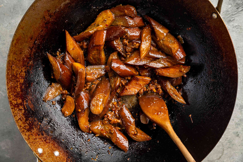 Sichuan Eggplant in Garlic Sauce in a wok