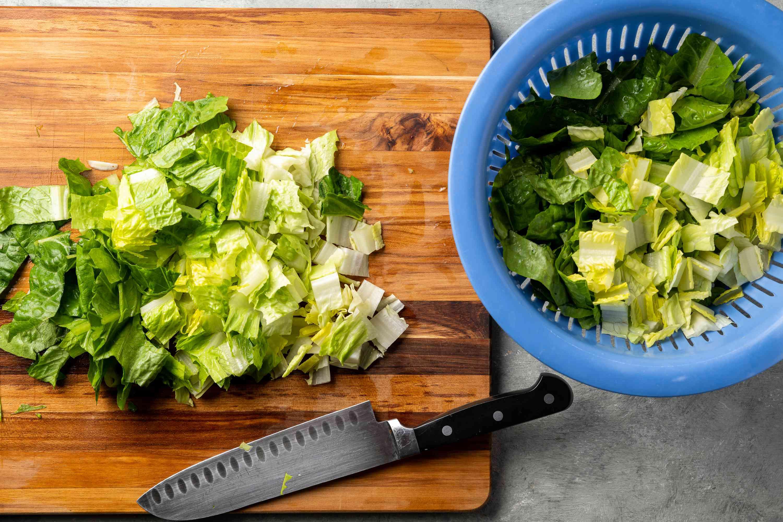 cut up washed lettuce leaves