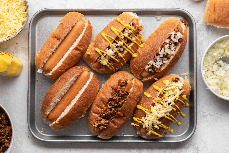 Classic Coney Island Hot Dog Sauce on a baking sheet