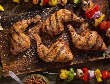 Grilled Chicken Legs With Vegetable Skewers