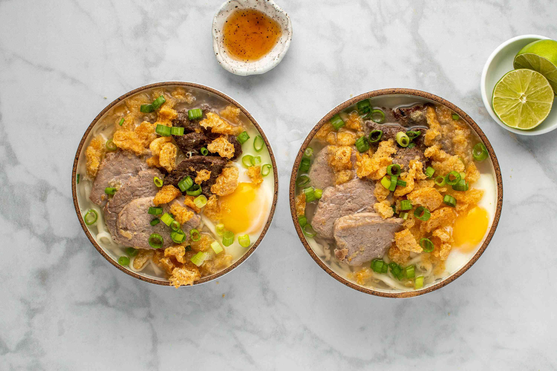 Central Philippines Pork Noodle Soup (La Paz Batchoy) in bowls