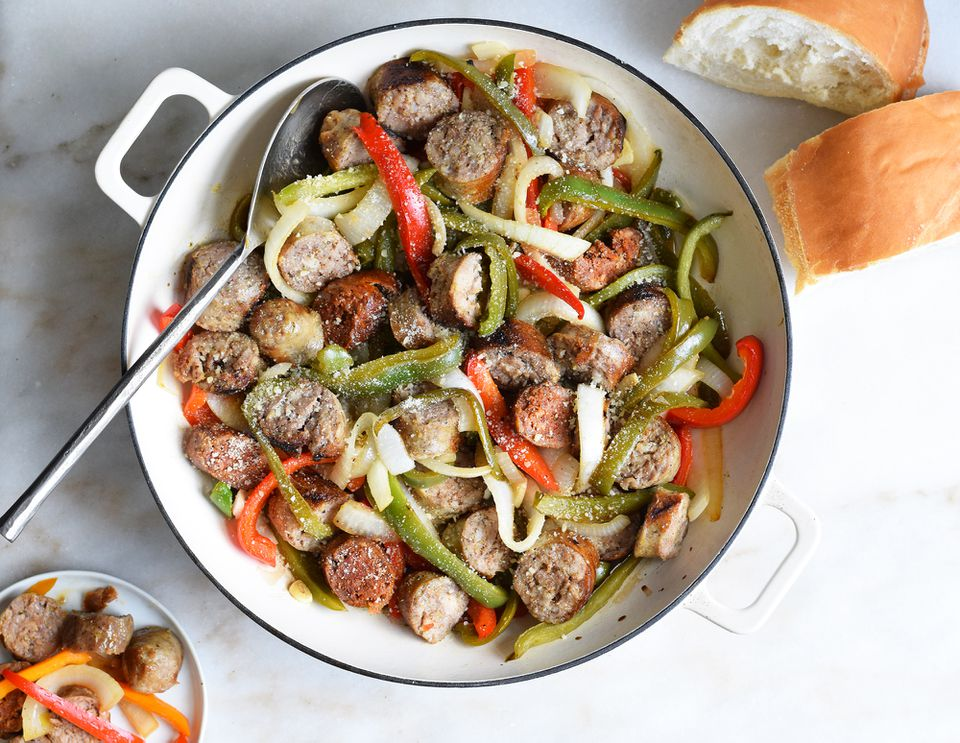 Italian sausage and peppers in a pan