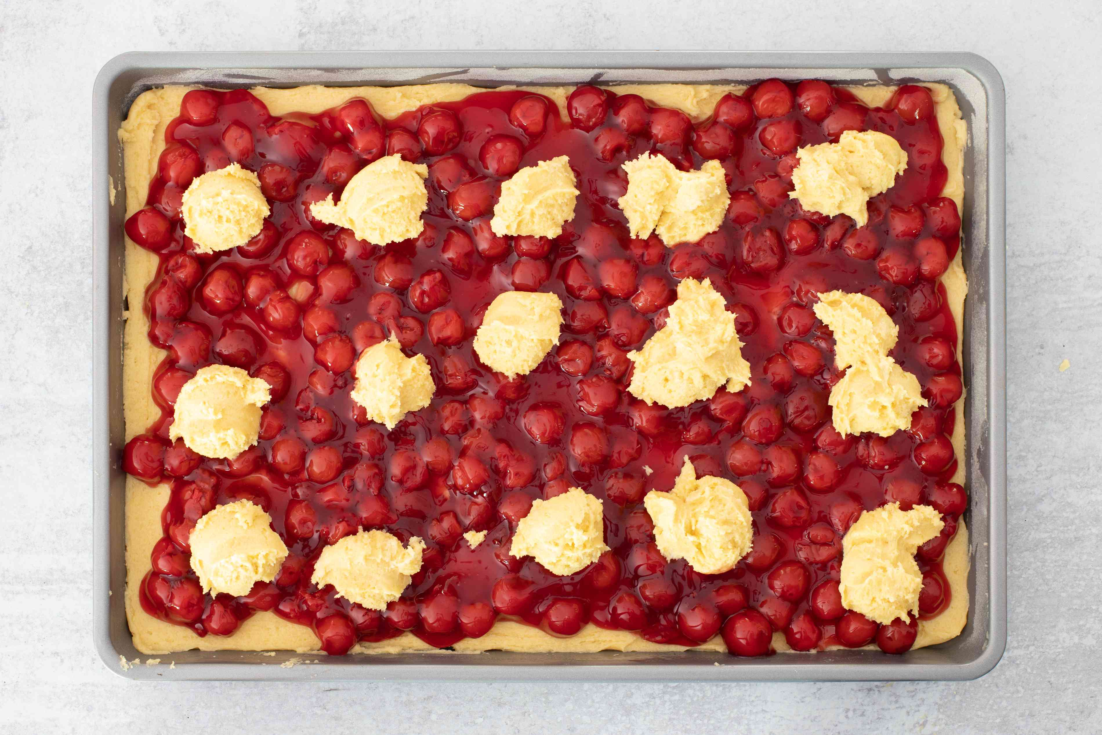 cherry pie bars ready to bake