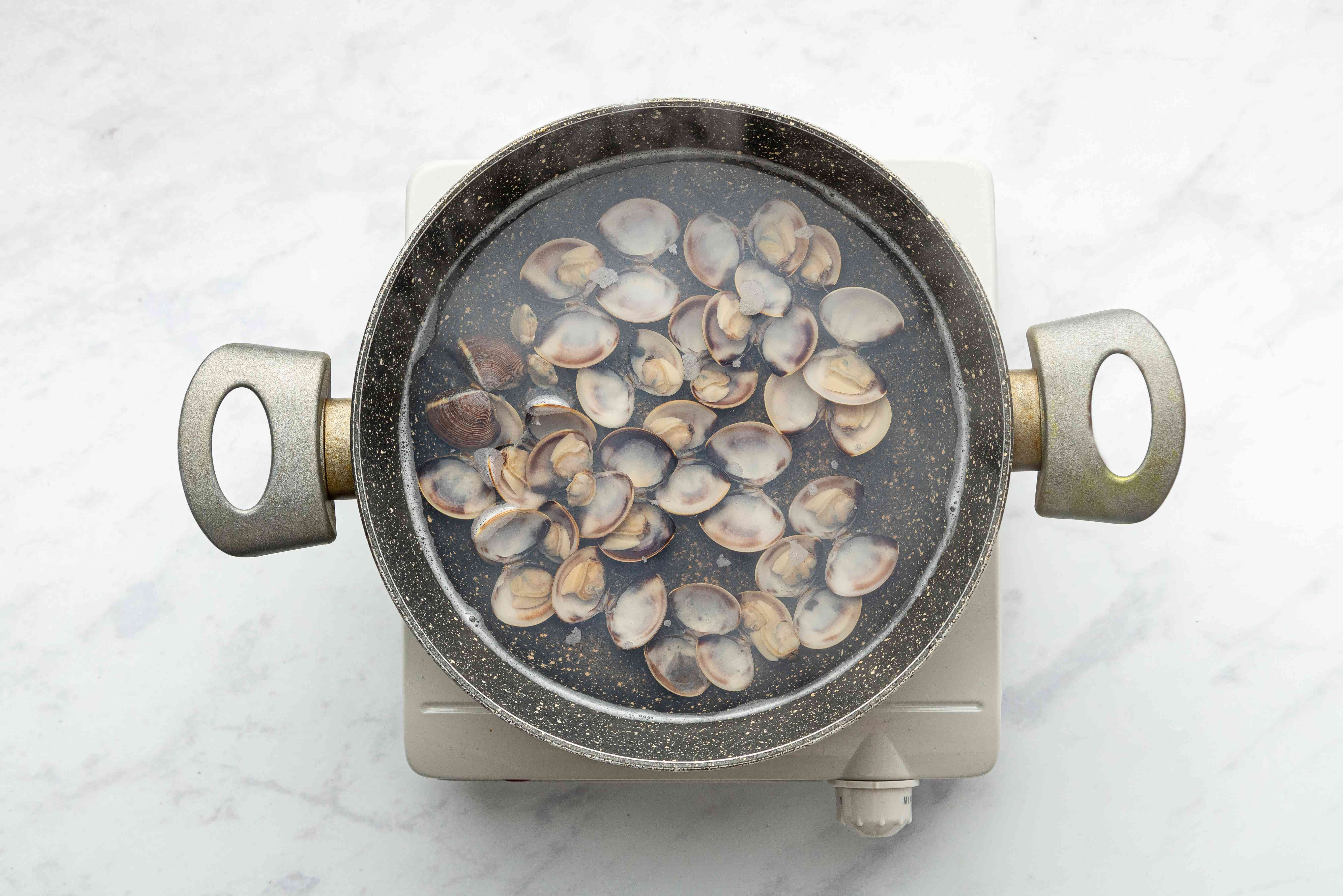 clams in a pot of water