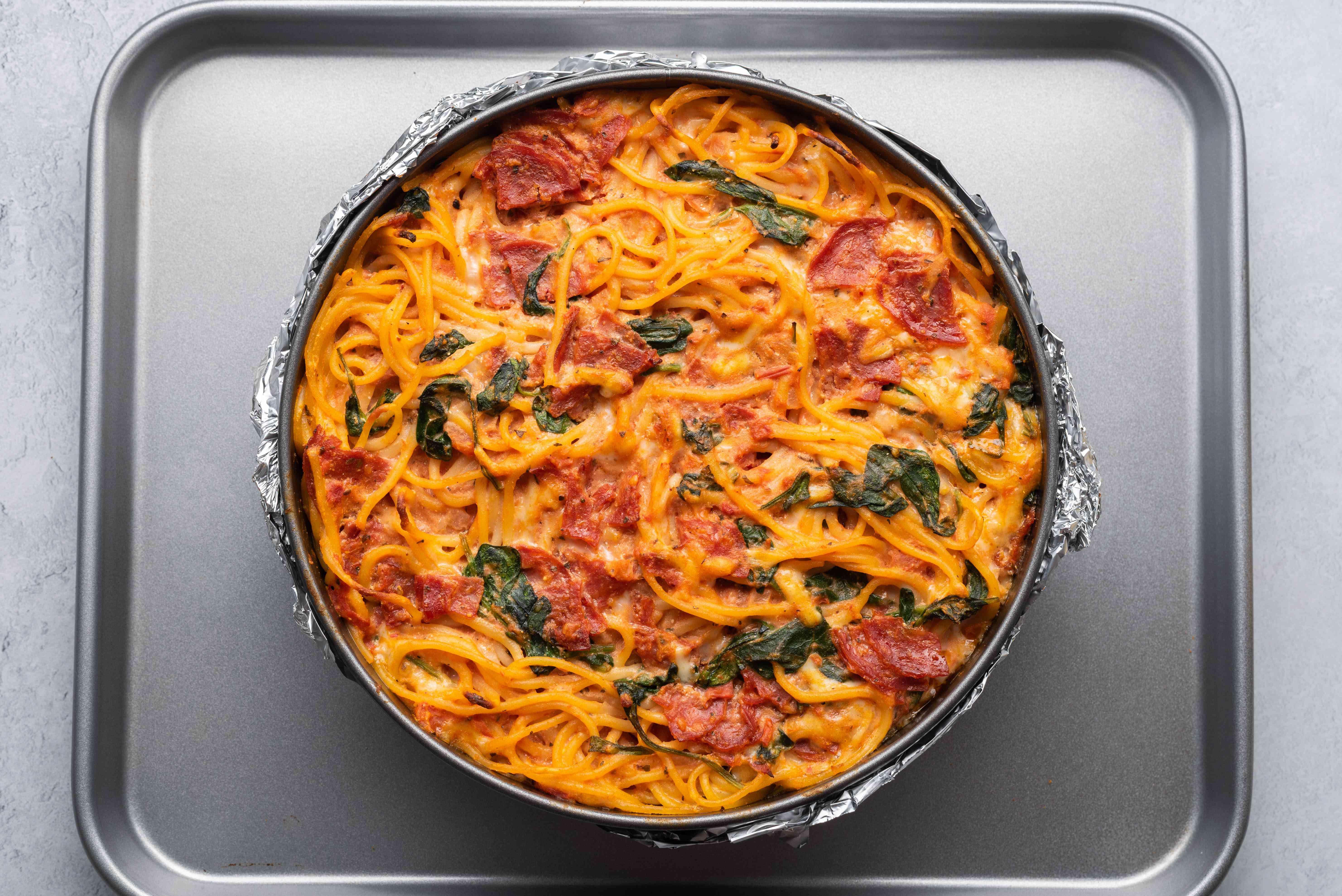 Place the springform pan onto a baking sheet