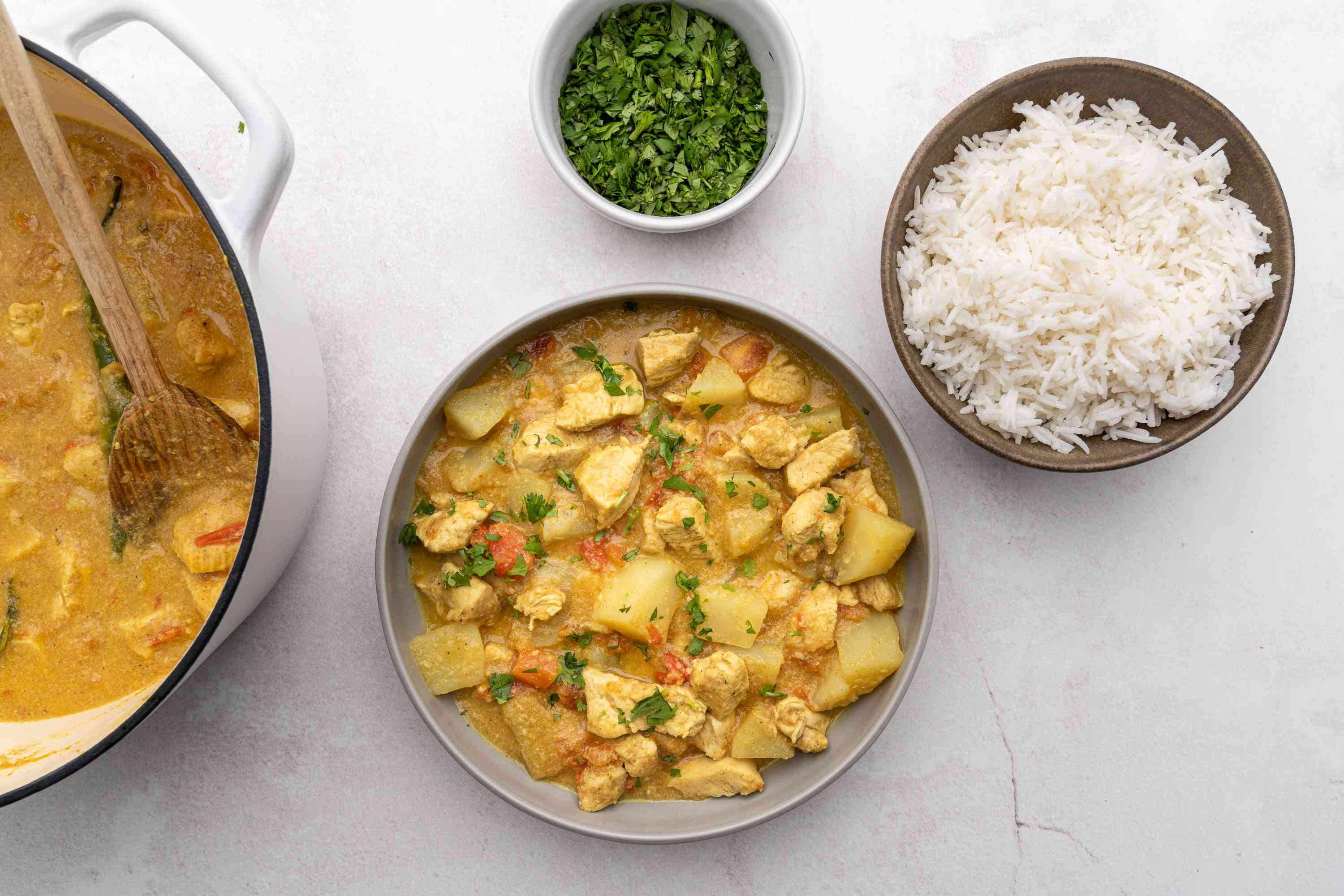 Maharashtrian Chicken Curry served with rice