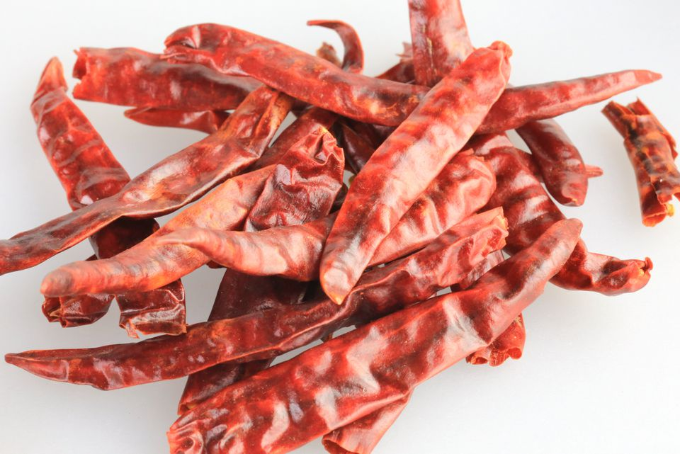 Close-up of Dried Thai birds eye chili peppers