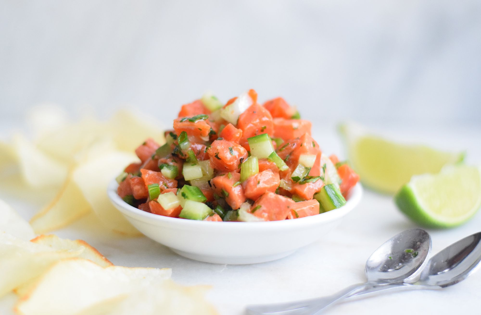 A dish piled with salmon tartare