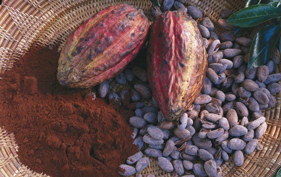 Cacoa beans, pods & cocoa powder