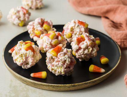 Candy corn popcorn balls recipe