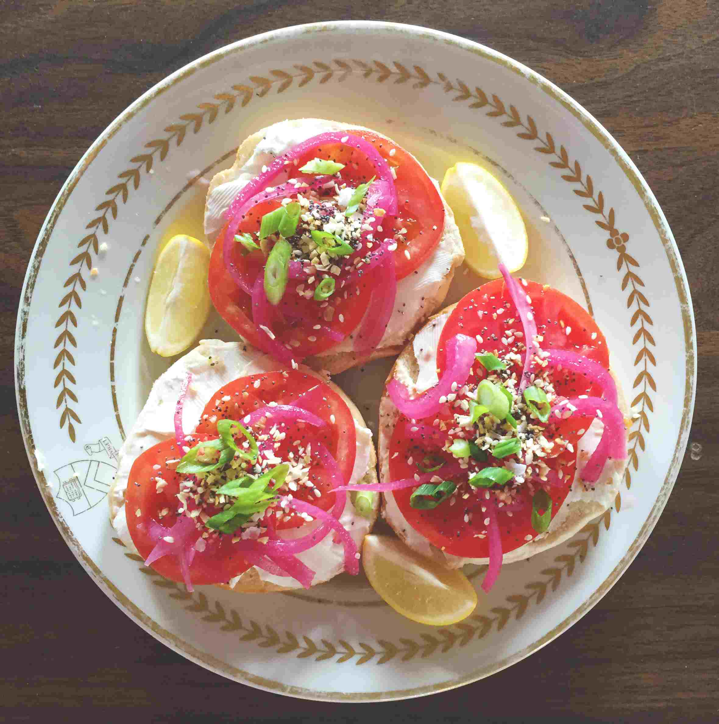 Open-faced tomato bagel