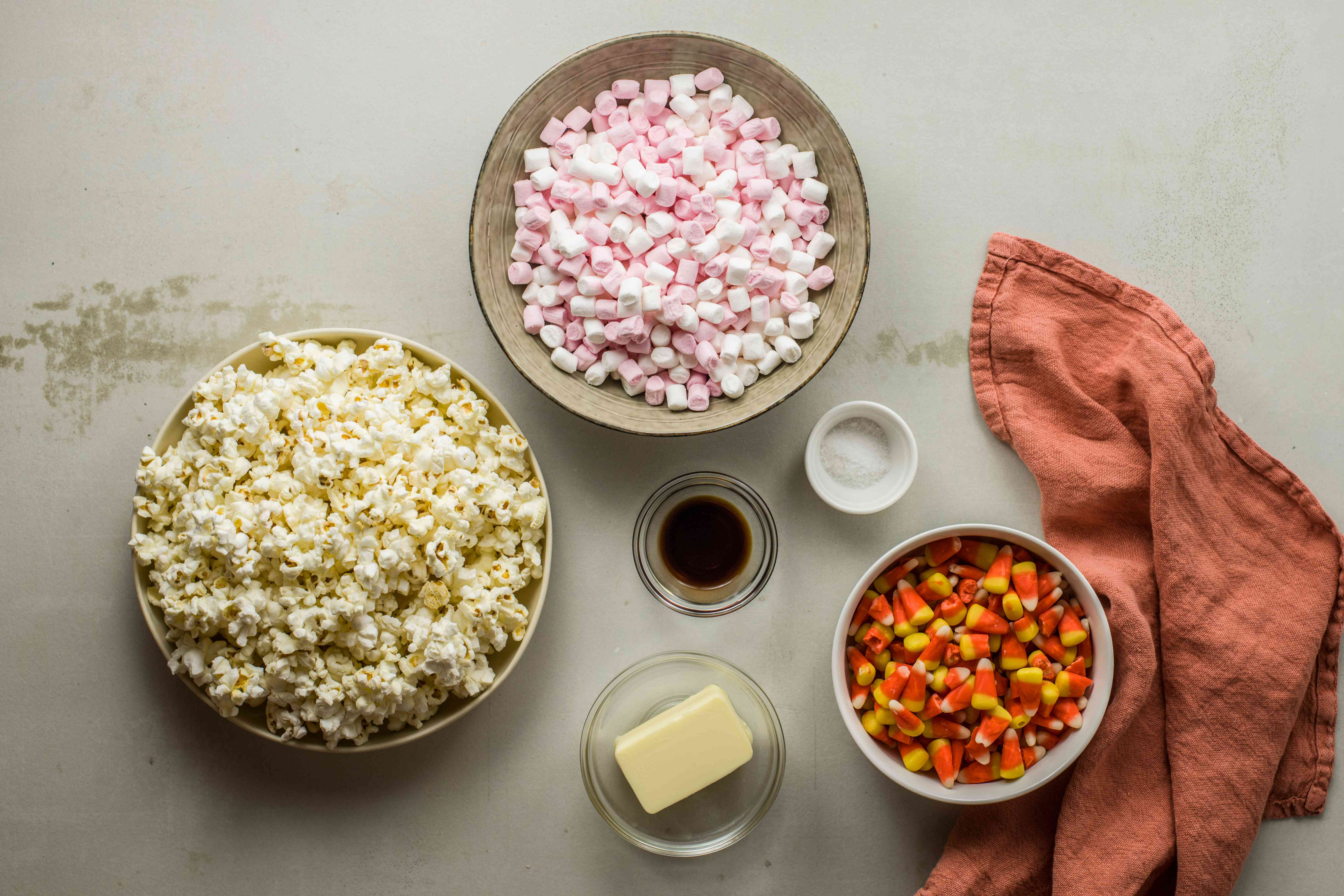 Ingredients for candy corn popcorn balls
