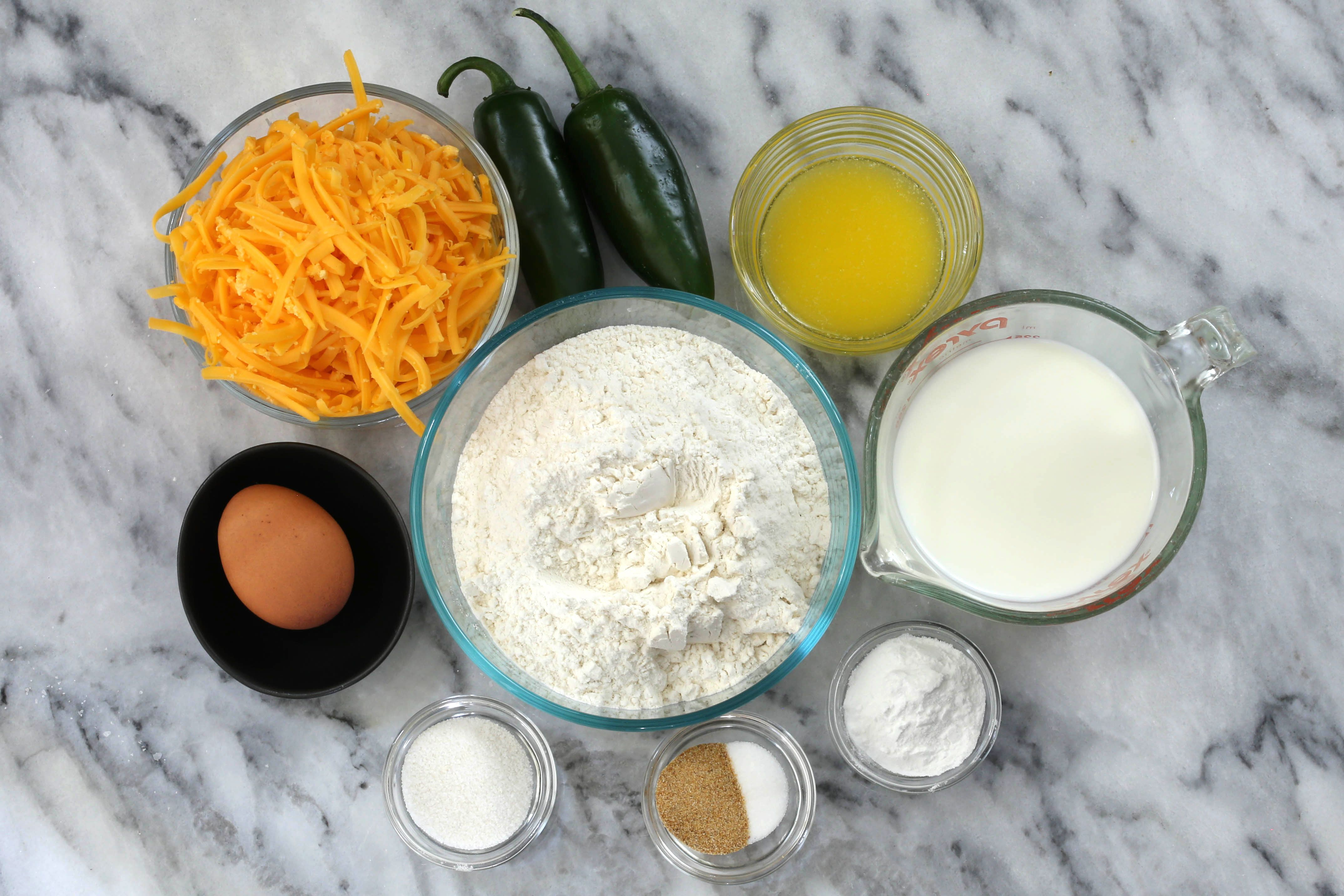 Ingredients for jalapeno cheddar quick bread.