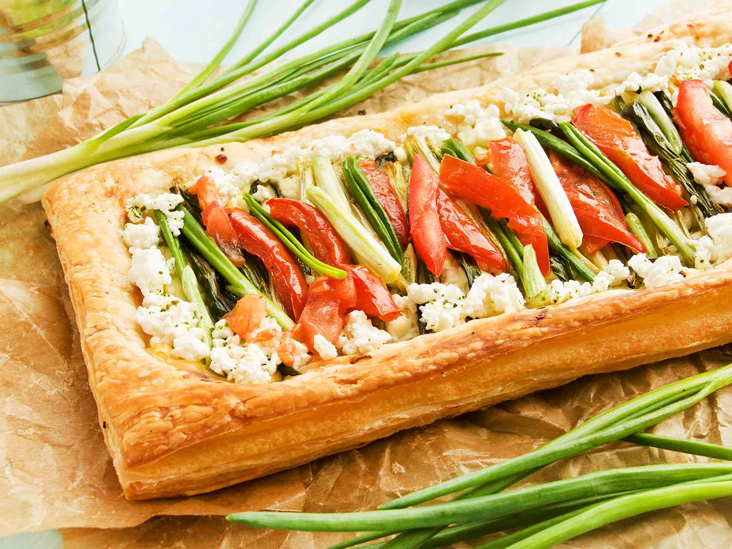 Puff-tart with greens, veggies and cottage cheese.