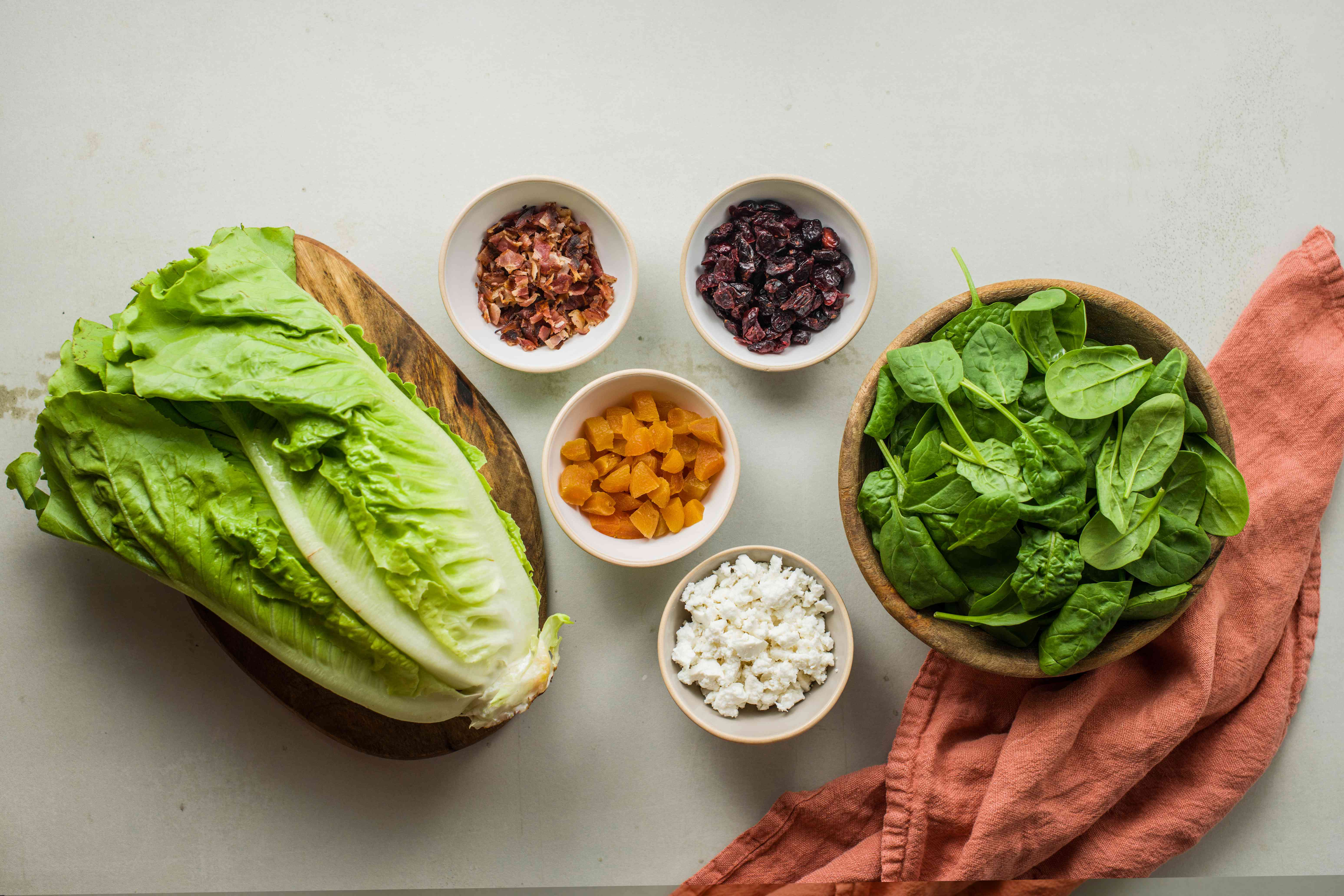 Ingredients for colorful autumn salad