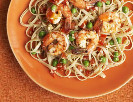 Shrimp with Linguine and Peas