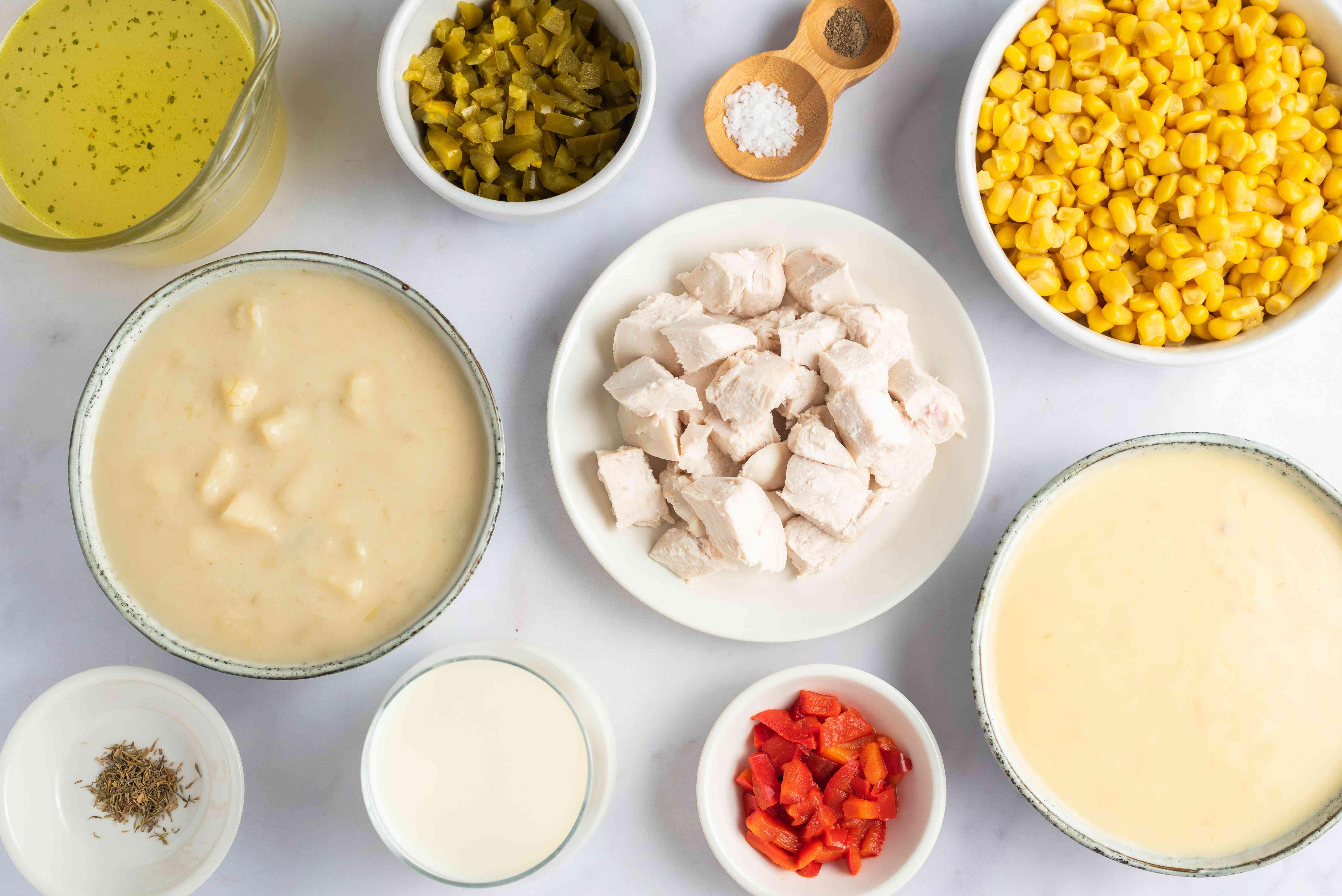 Ingredients for crockpot chicken and corn chowder