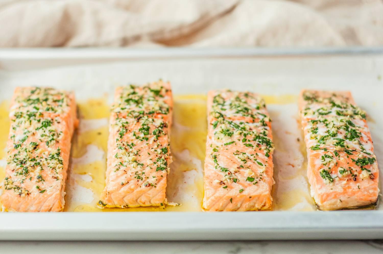 Bake salmon until flaky