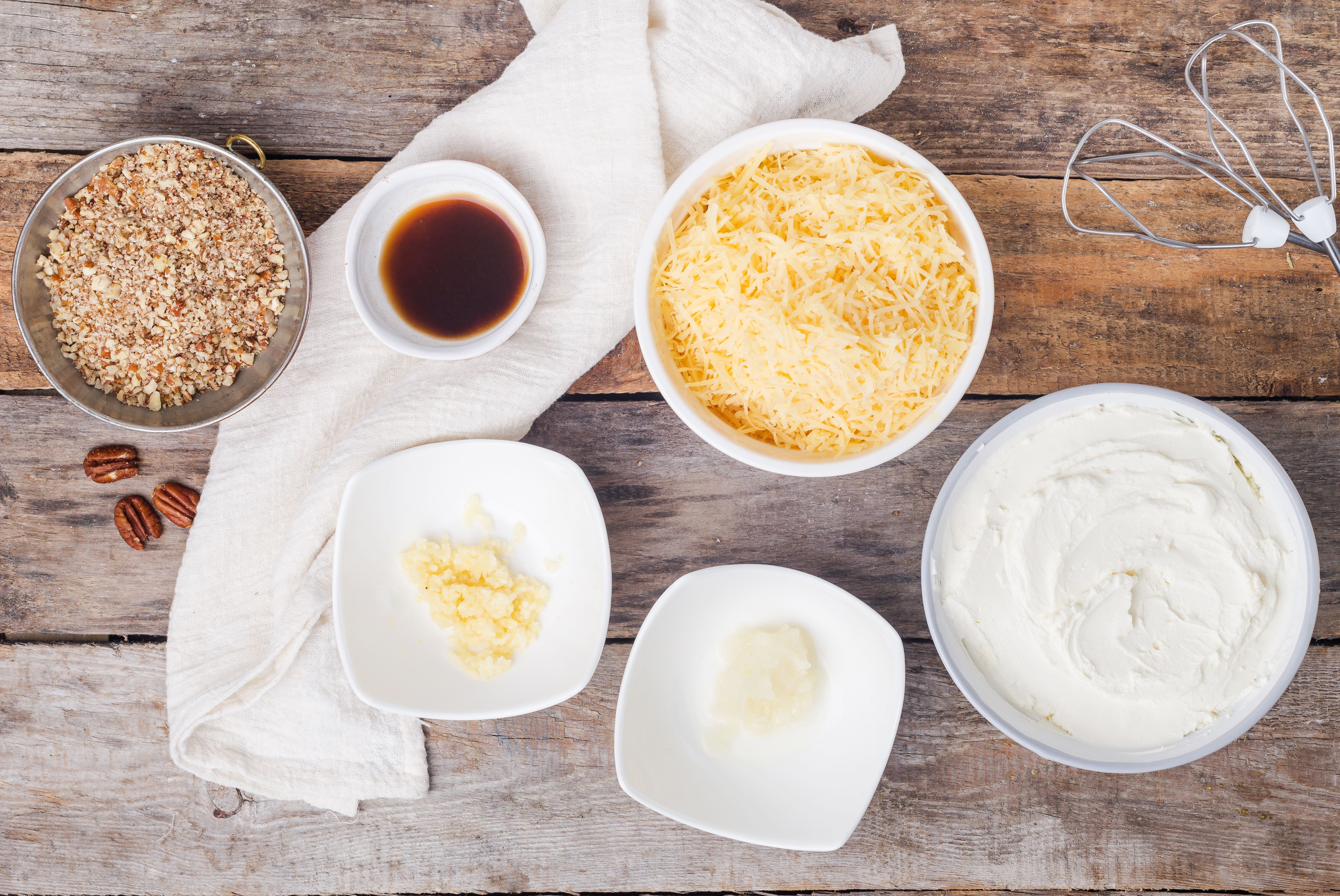Ingredients for cheeseball with pecans