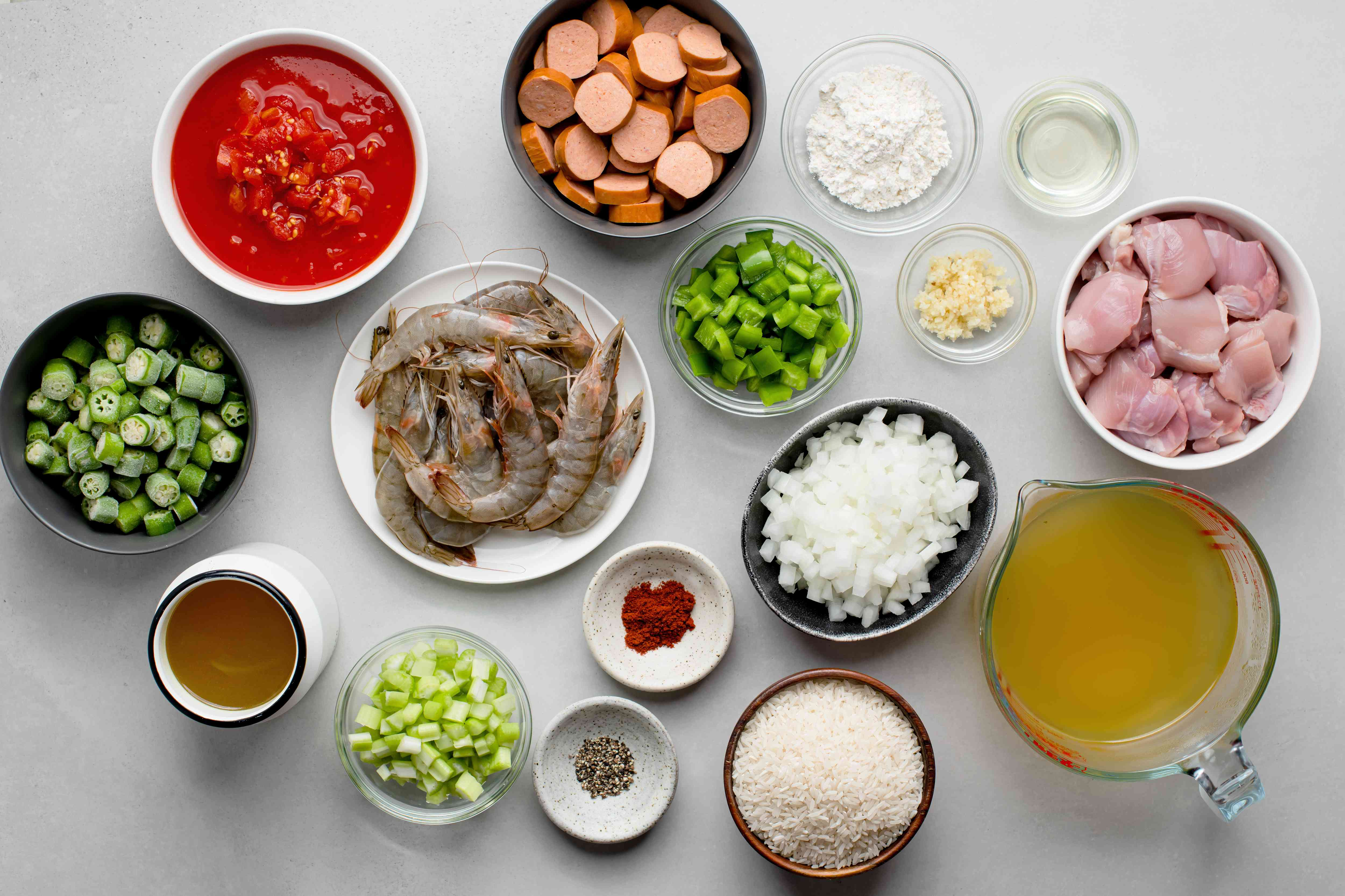 Crock Pot Chicken, Sausage, and Shrimp Gumbo ingredients