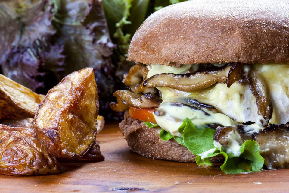 Burger with cheese and mushrooms