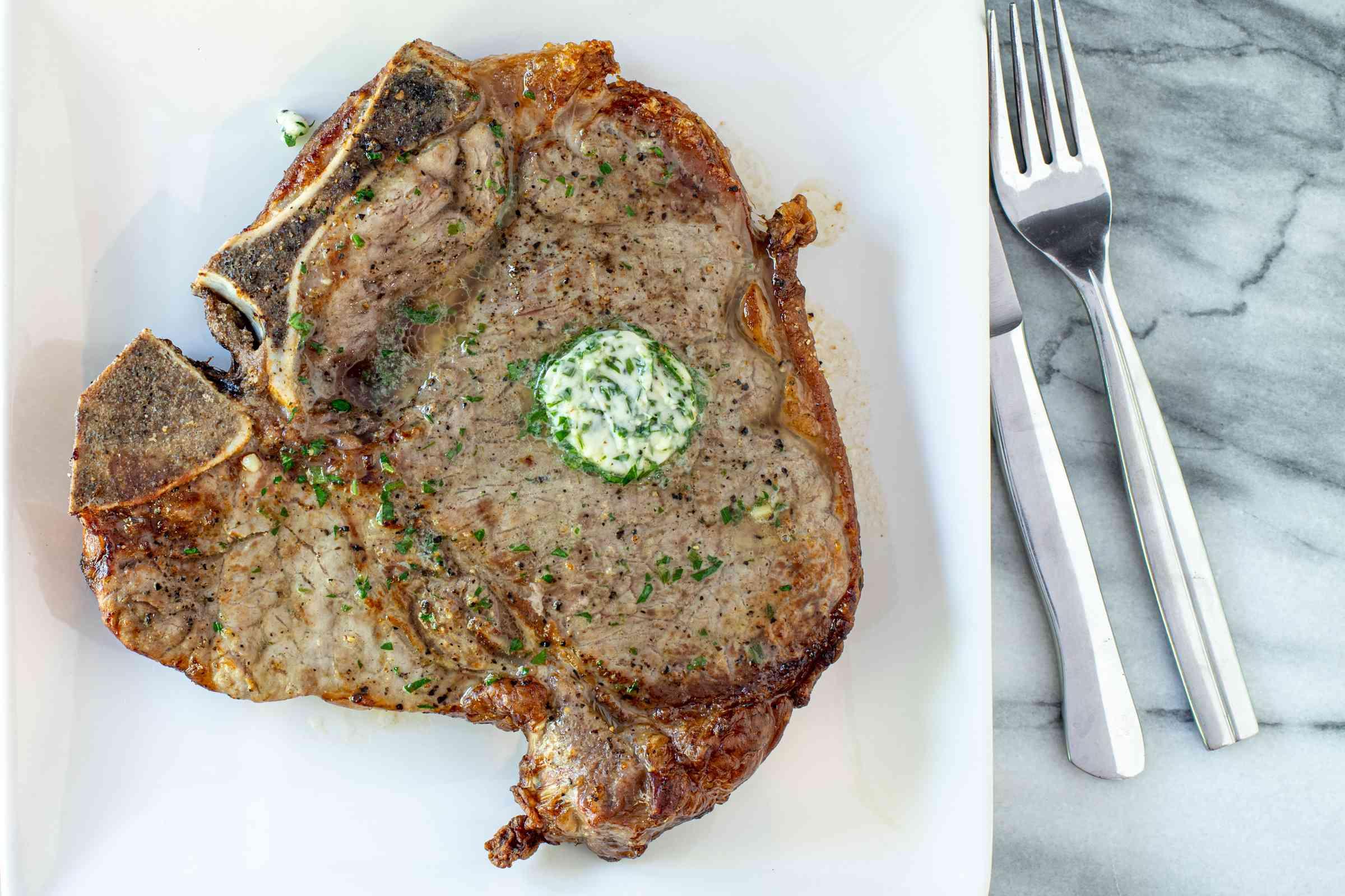 air fryer steak and herb butter