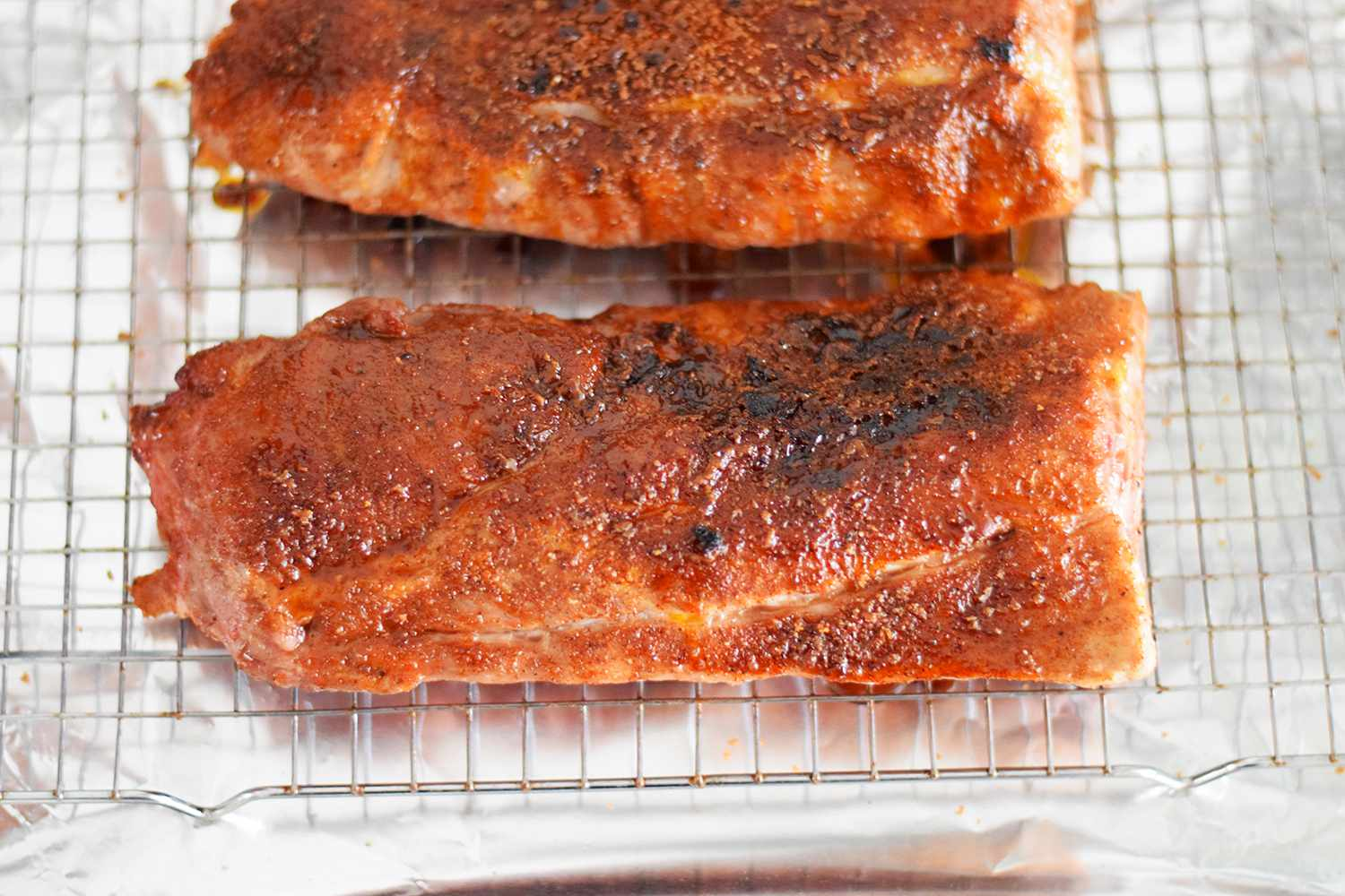 The ribs are broiled to get a nice crust