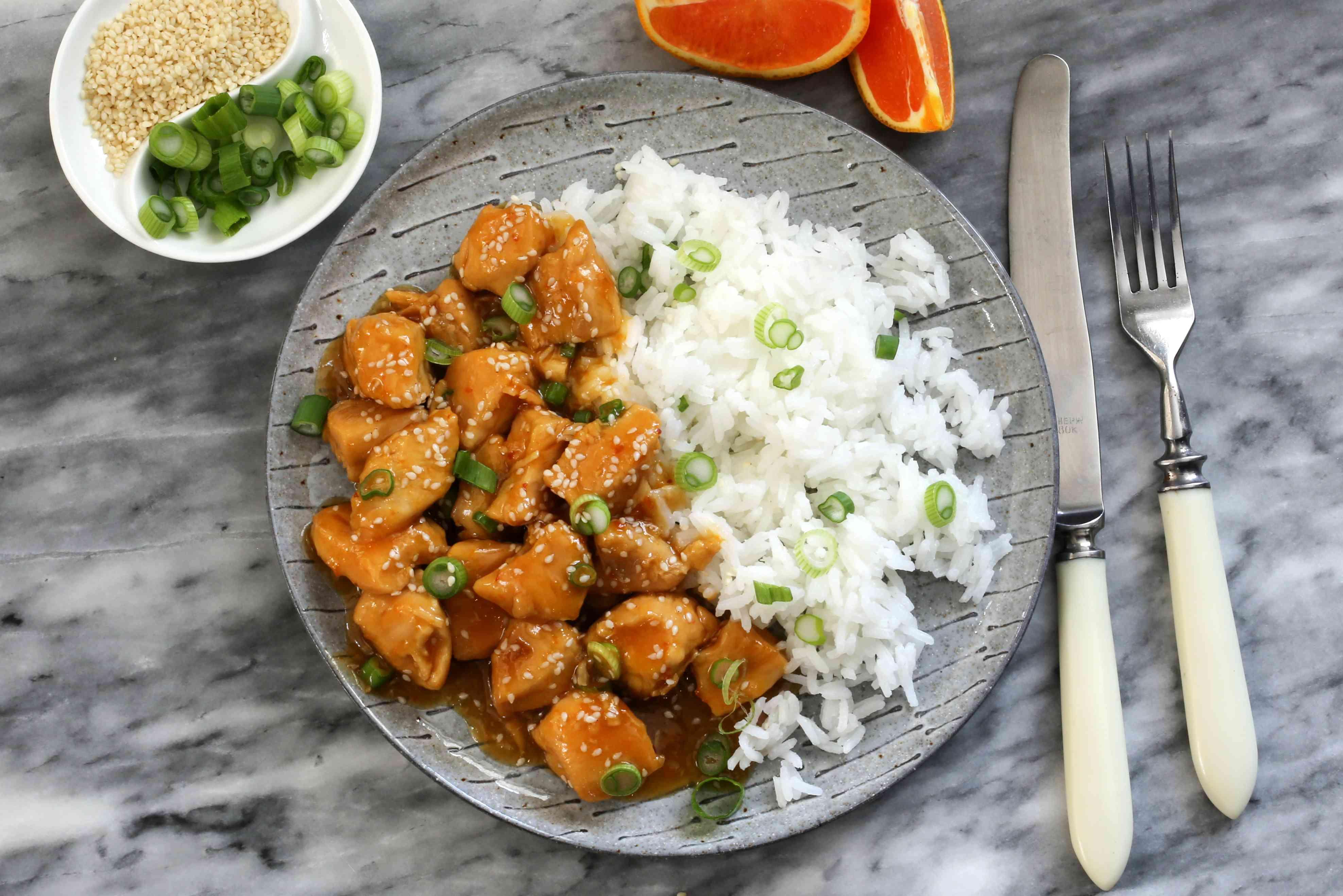 Instant Pot orange chicken with sesame seeds.